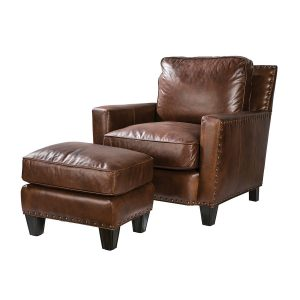 Picture of Alvarado-Chair and Alvarado-Ottoman in Gunner Coffee leather