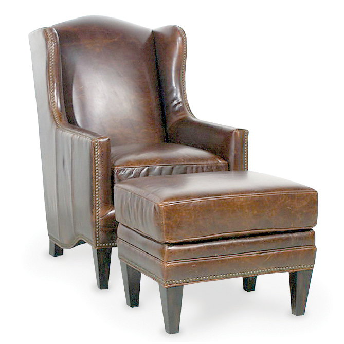 Picture Of Sinclair Chair   Sinclair Ottoman In Leather
