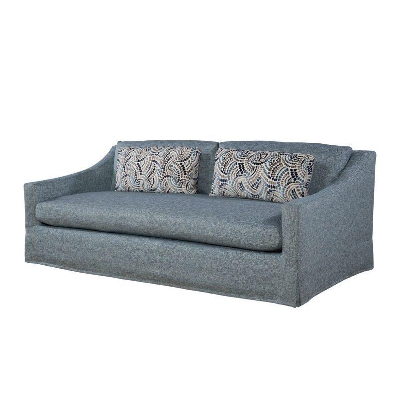 Dana Slipcovered Studio Sofa in Vault Indigo with Anniston Midnight Pillows