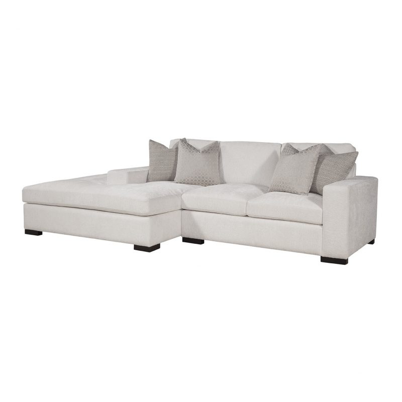 Newport Conversation Sectional LAF Conversation Bumper/RAF Loveseat in Gorgeous Canvas with Jackie O Gunmetal/Dax Silver Pillows