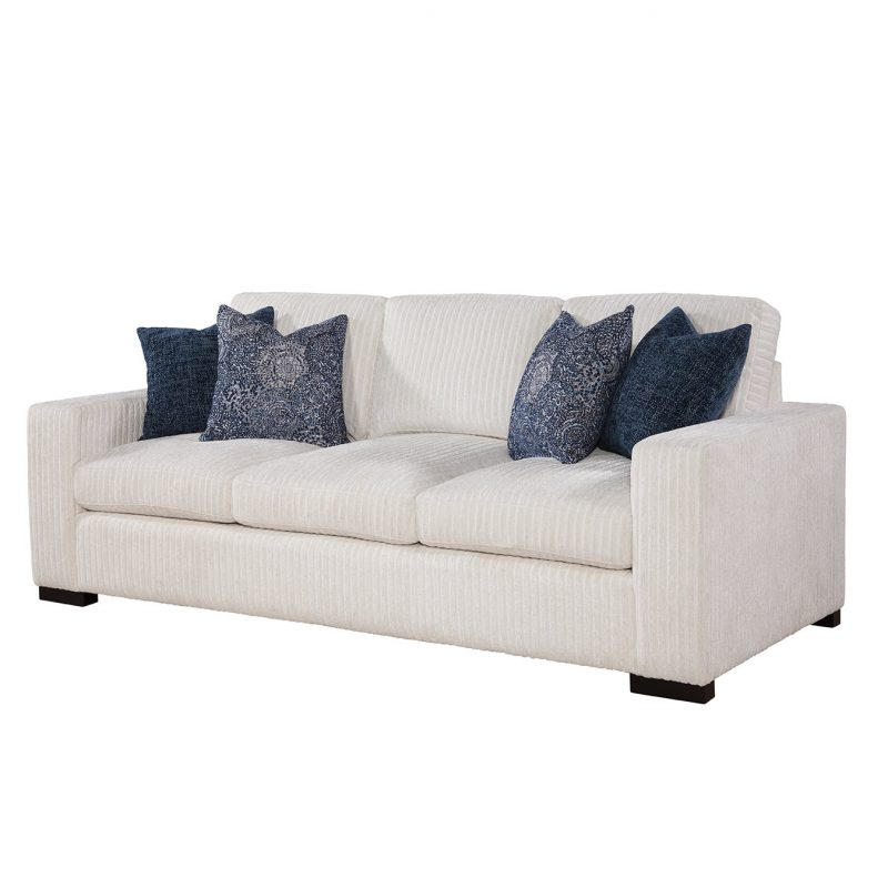 Newport Sofa in Drama Canvas with Chambray/Norse Lake Pillows