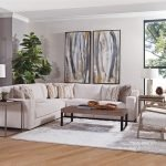 Ventura Sectional in Norse Bone with Copeland Maize/Wendy Bronze Pillows